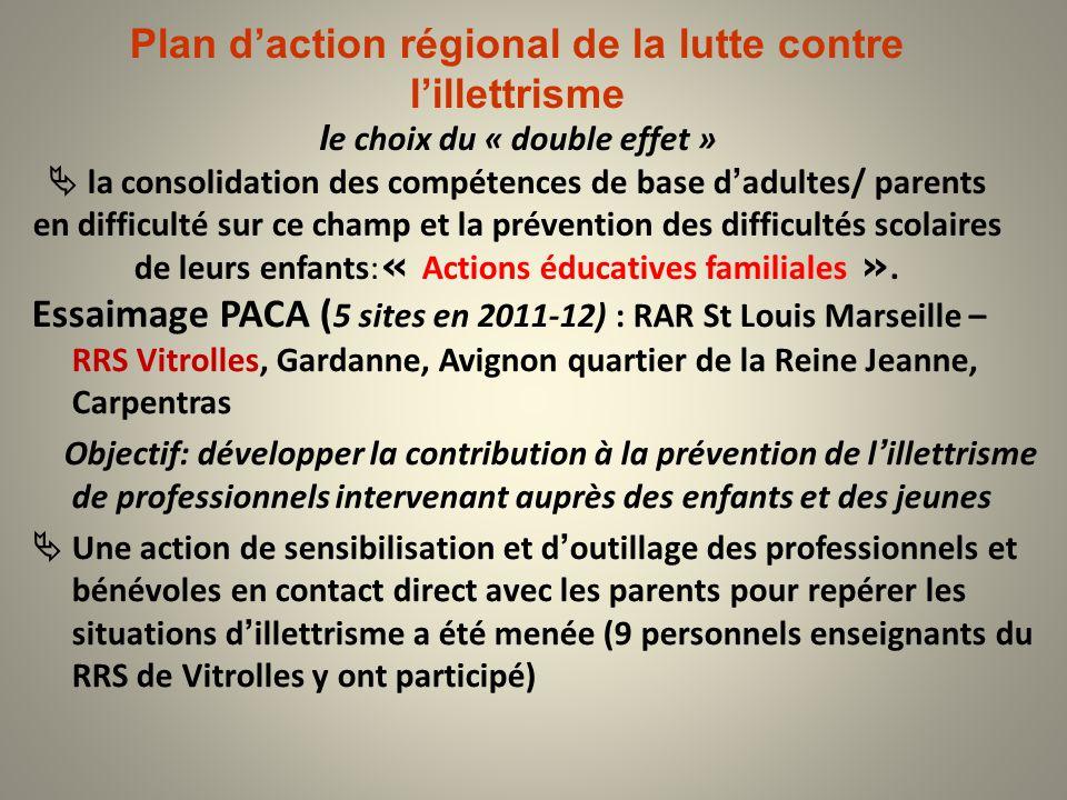 Plan d'action régional de la lutte contre l'illettrisme le choix du « double effet »  la consolidation des compétences de base d'adultes/ parents en difficulté sur ce champ et la prévention des difficultés scolaires de leurs enfants:« Actions éducatives familiales ».