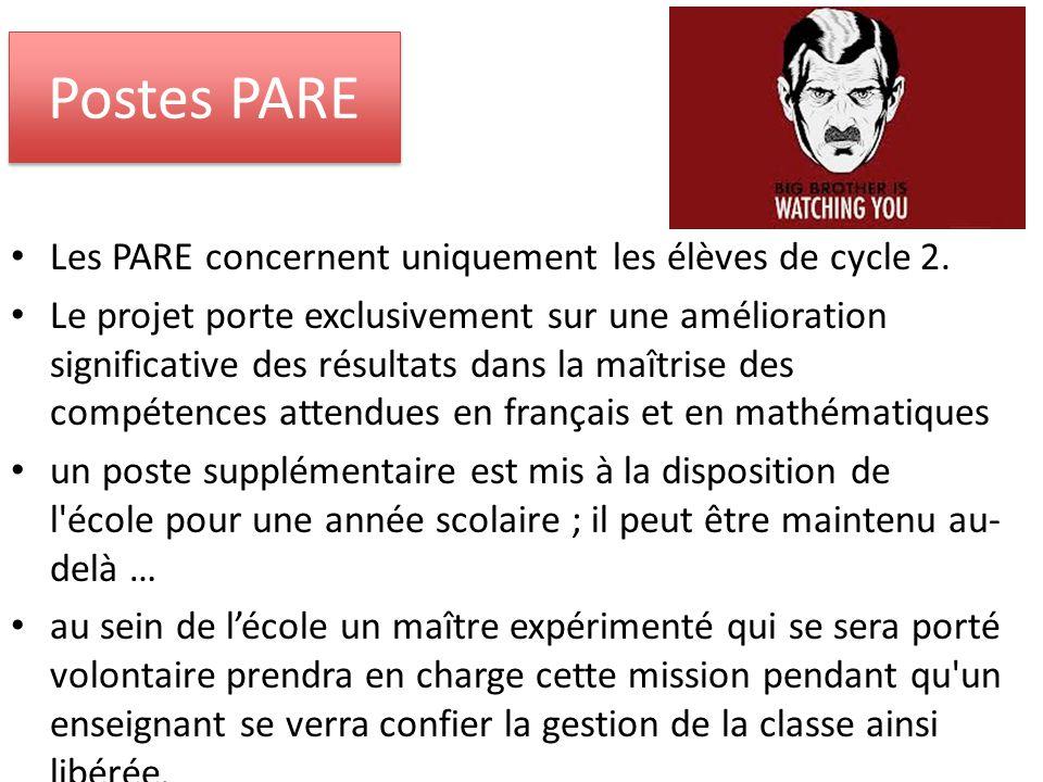Postes PARE Les PARE concernent uniquement les élèves de cycle 2.