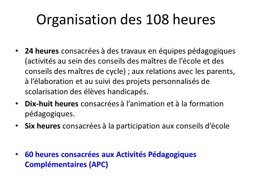 Organisation des 108 heures