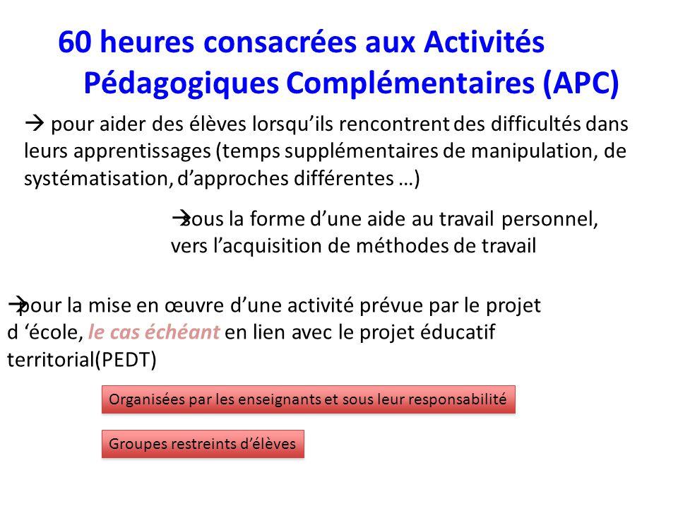 60 heures consacrées aux Activités Pédagogiques Complémentaires (APC)