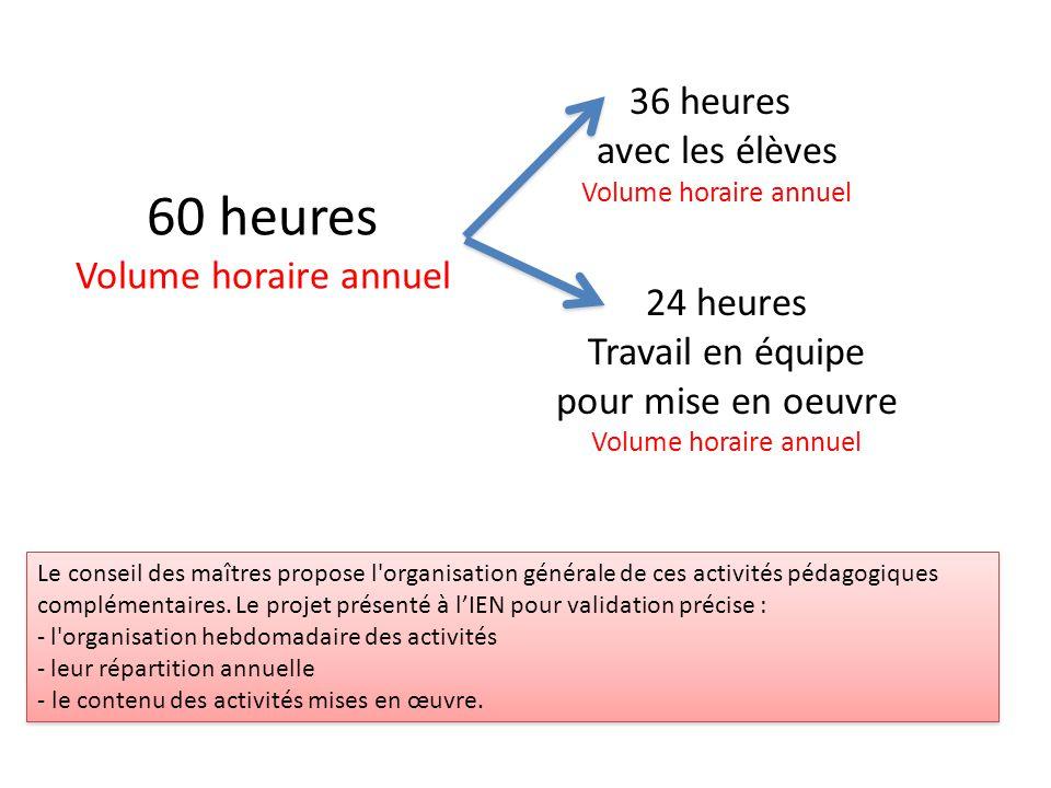 60 heures 36 heures avec les élèves Volume horaire annuel 24 heures