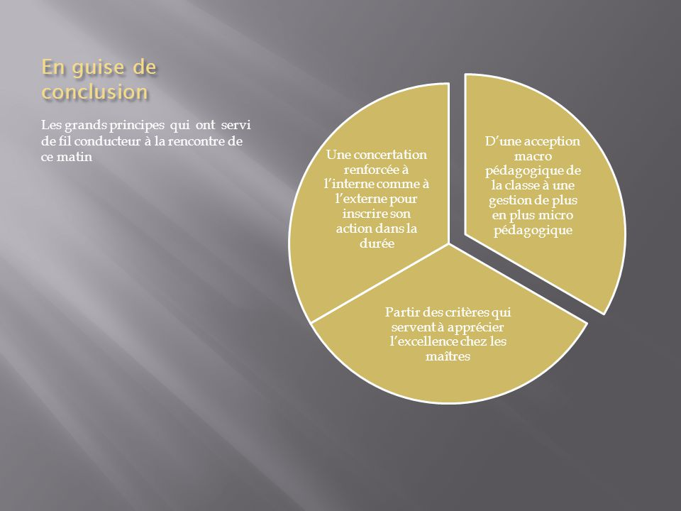En guise de conclusion D'une acception macro pédagogique de la classe à une gestion de plus en plus micro pédagogique.