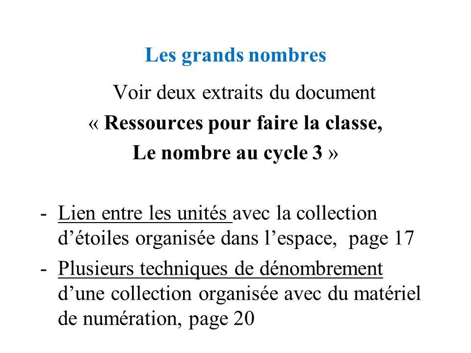 Voir deux extraits du document « Ressources pour faire la classe,