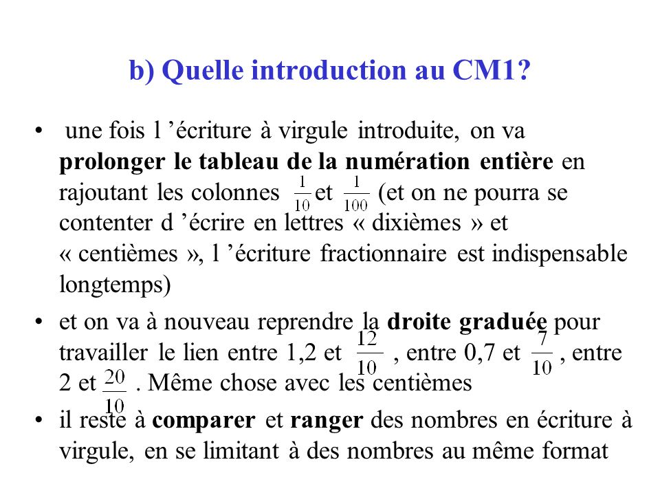 b) Quelle introduction au CM1