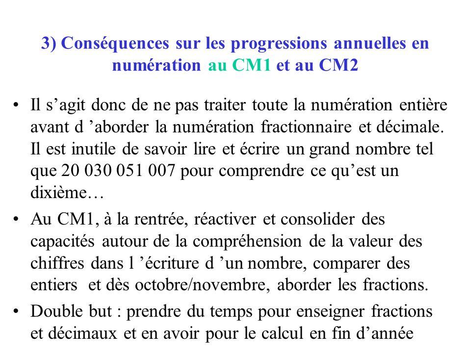 3) Conséquences sur les progressions annuelles en numération au CM1 et au CM2