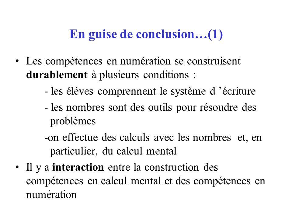 En guise de conclusion…(1)