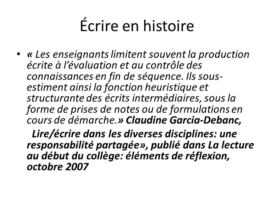 Écrire en histoire
