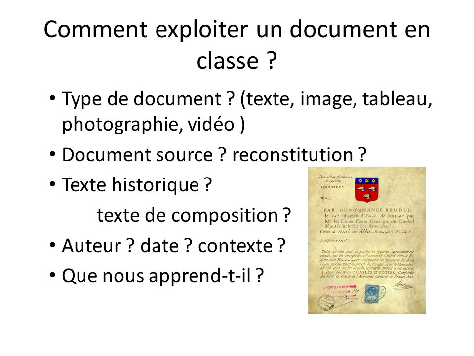 Comment exploiter un document en classe
