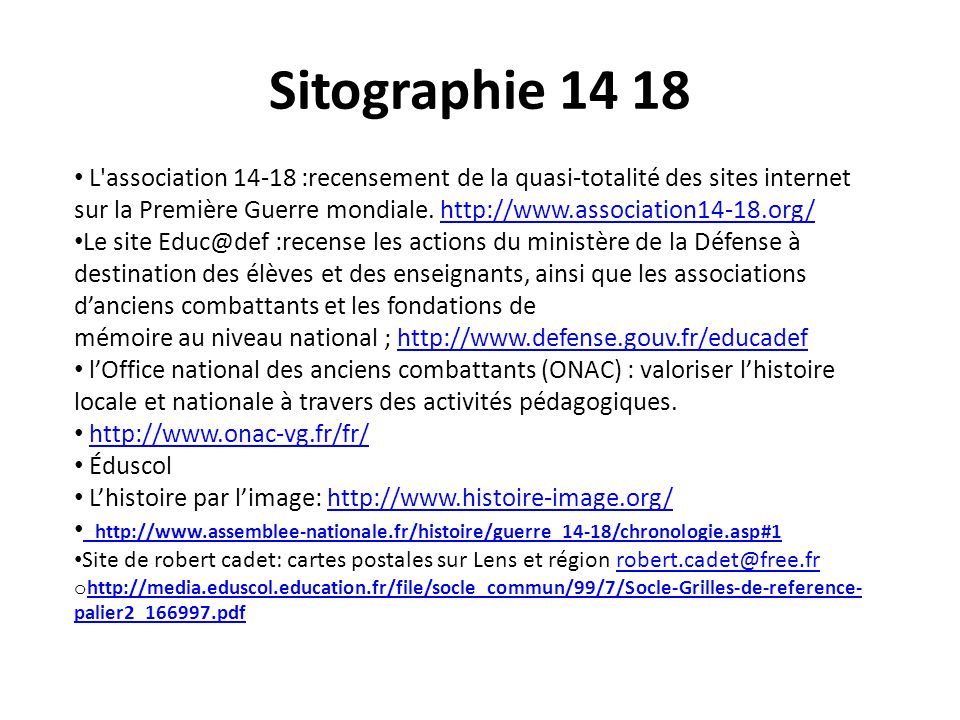Sitographie 14 18