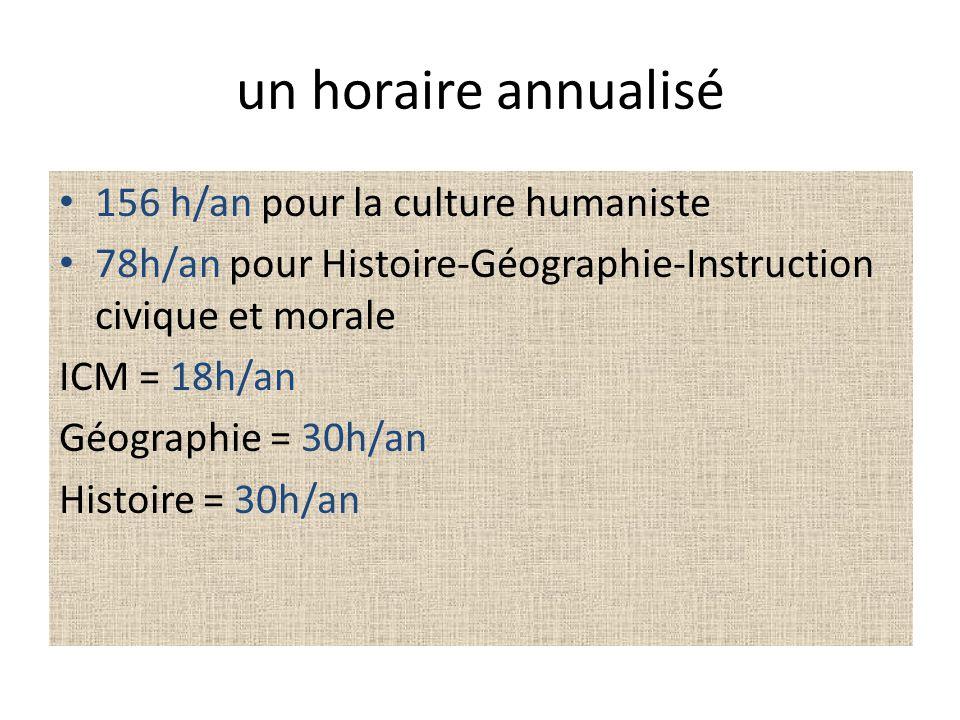un horaire annualisé 156 h/an pour la culture humaniste