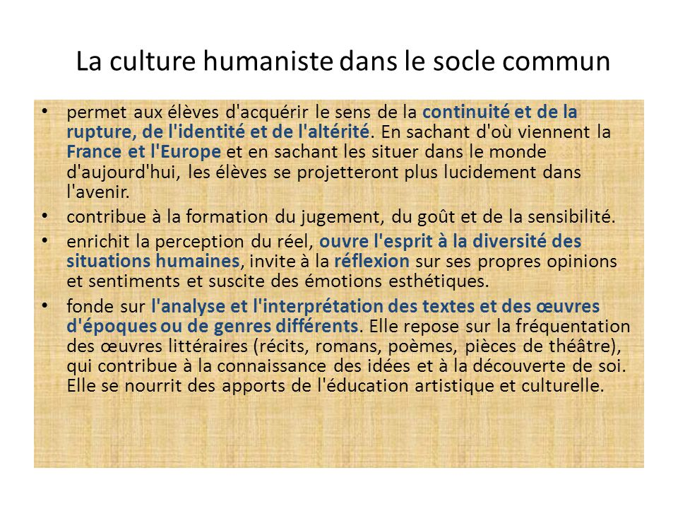La culture humaniste dans le socle commun