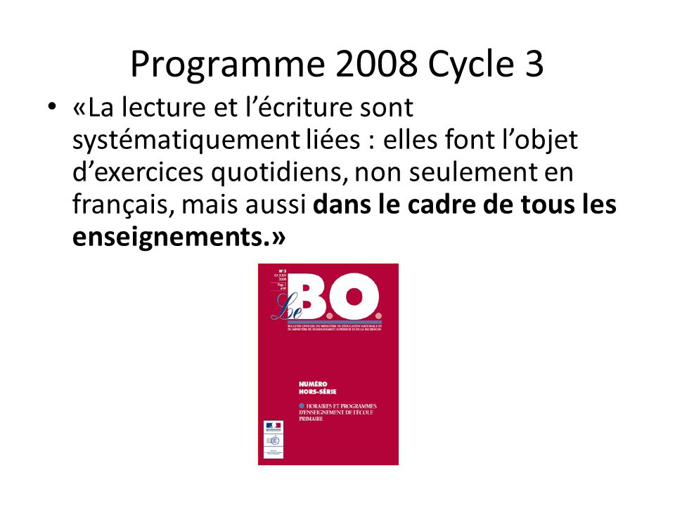 Programme 2008 Cycle 3