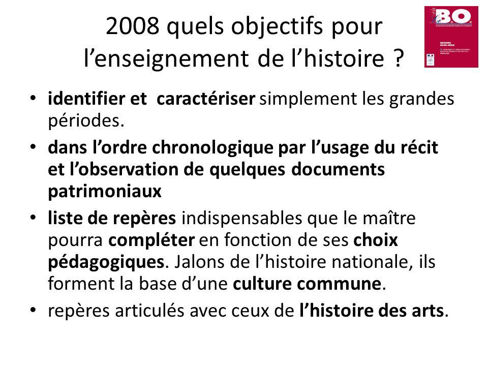 2008 quels objectifs pour l'enseignement de l'histoire