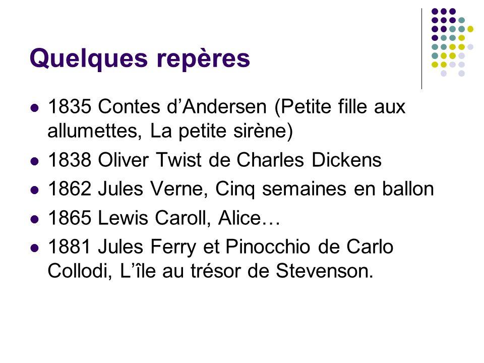 Quelques repères 1835 Contes d'Andersen (Petite fille aux allumettes, La petite sirène) 1838 Oliver Twist de Charles Dickens.