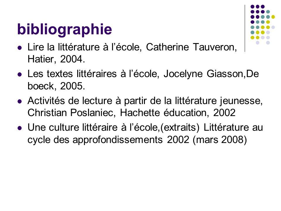 bibliographie Lire la littérature à l'école, Catherine Tauveron, Hatier, 2004. Les textes littéraires à l'école, Jocelyne Giasson,De boeck, 2005.