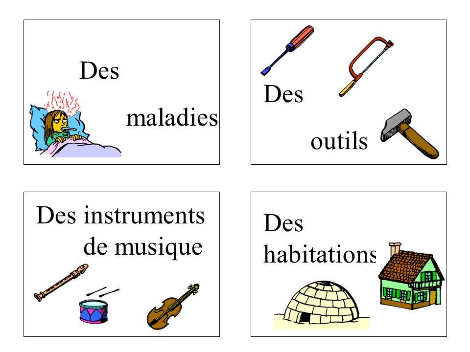 Des maladies Des outils Des instruments de musique Des habitations