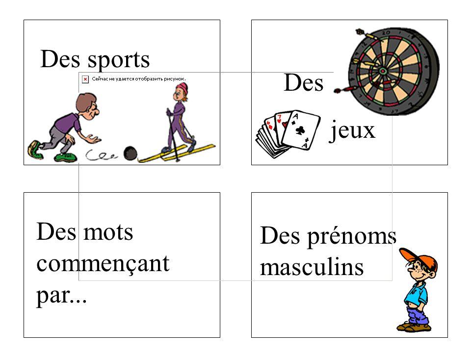 Des sports Des jeux Des mots commençant par... Des prénoms masculins