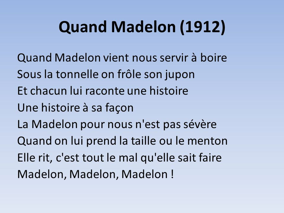 Quand Madelon (1912)