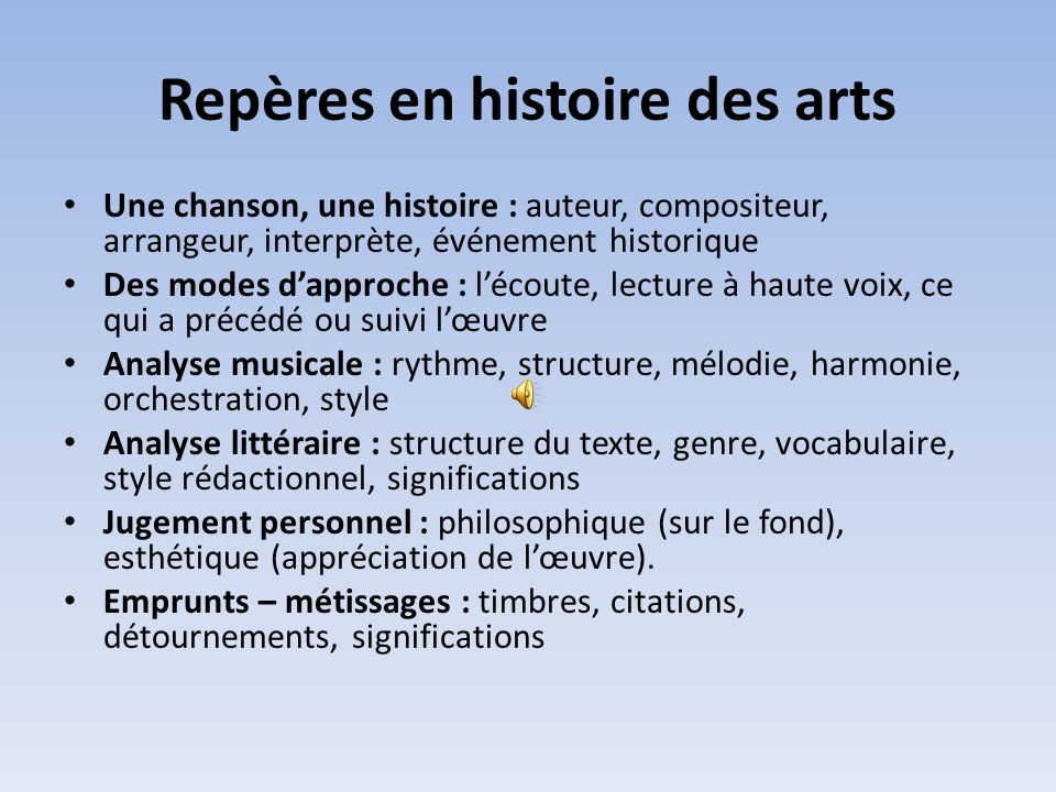 Repères en histoire des arts