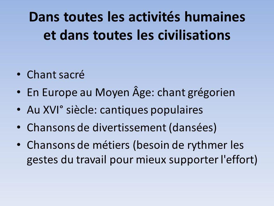 Dans toutes les activités humaines et dans toutes les civilisations