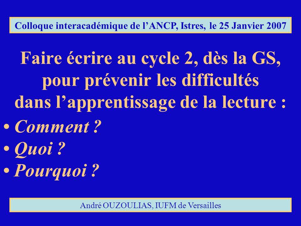 Colloque interacadémique de l'ANCP, Istres, le 25 Janvier 2007