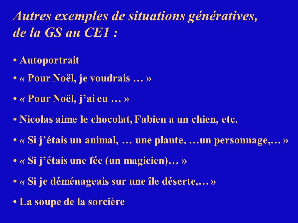 Autres exemples de situations génératives, de la GS au CE1 :
