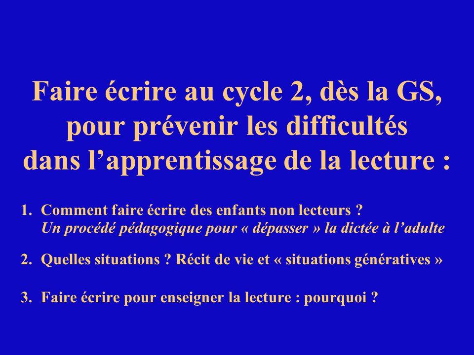 Faire écrire au cycle 2, dès la GS, pour prévenir les difficultés dans l'apprentissage de la lecture :