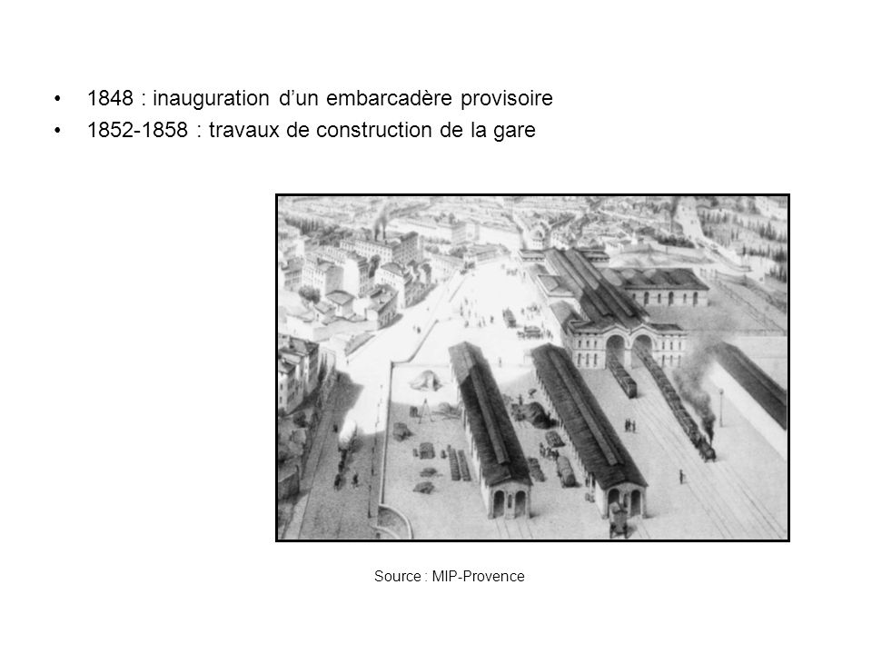 1848 : inauguration d'un embarcadère provisoire