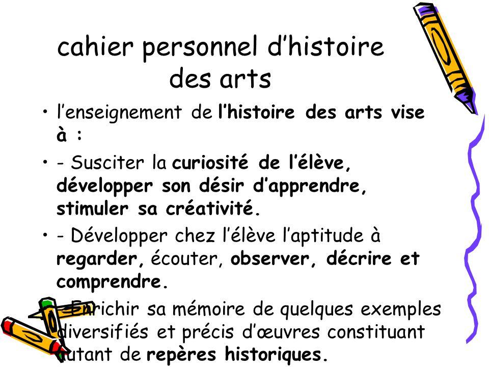 cahier personnel d'histoire des arts