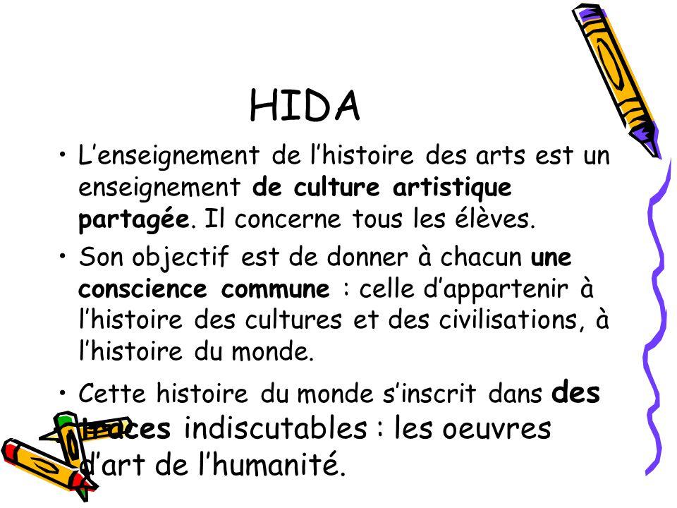 HIDA L'enseignement de l'histoire des arts est un enseignement de culture artistique partagée. Il concerne tous les élèves.