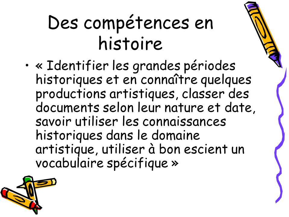 Des compétences en histoire