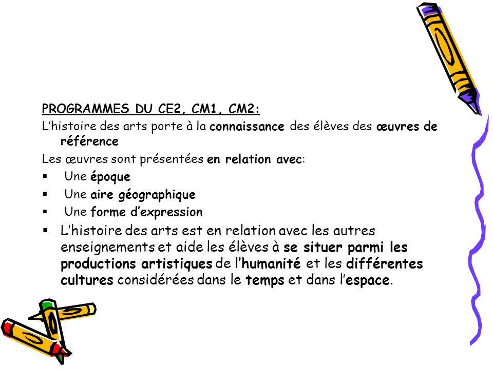 PROGRAMMES DU CE2, CM1, CM2: L'histoire des arts porte à la connaissance des élèves des œuvres de référence.
