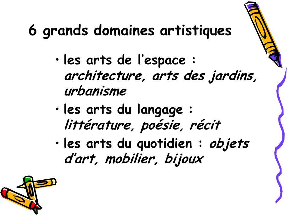 6 grands domaines artistiques
