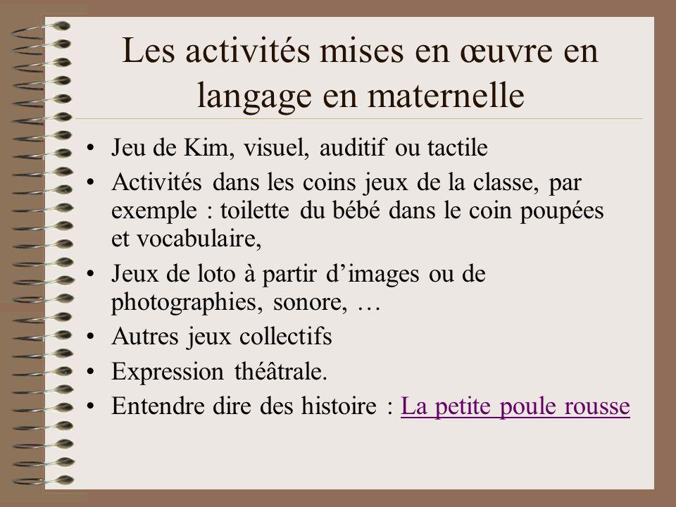 Les activités mises en œuvre en langage en maternelle