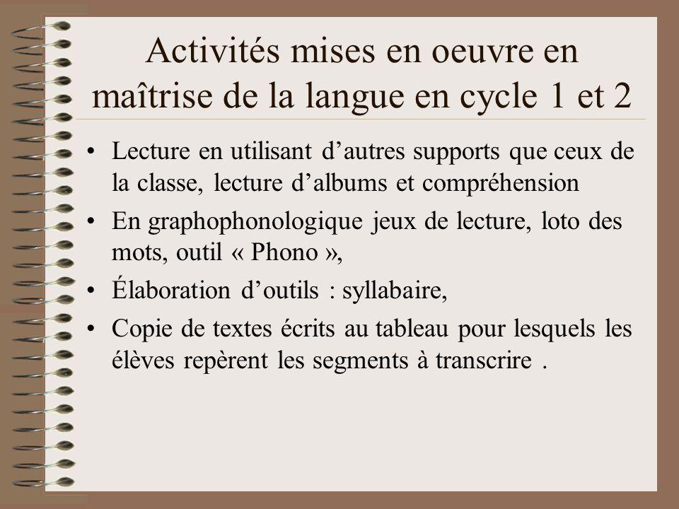 Activités mises en oeuvre en maîtrise de la langue en cycle 1 et 2
