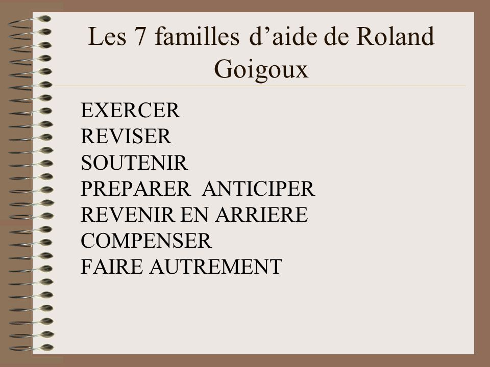 Les 7 familles d'aide de Roland Goigoux