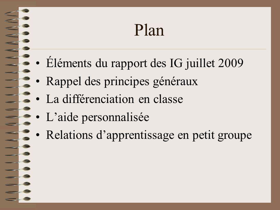 Plan Éléments du rapport des IG juillet 2009