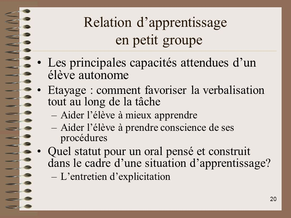 Relation d'apprentissage en petit groupe