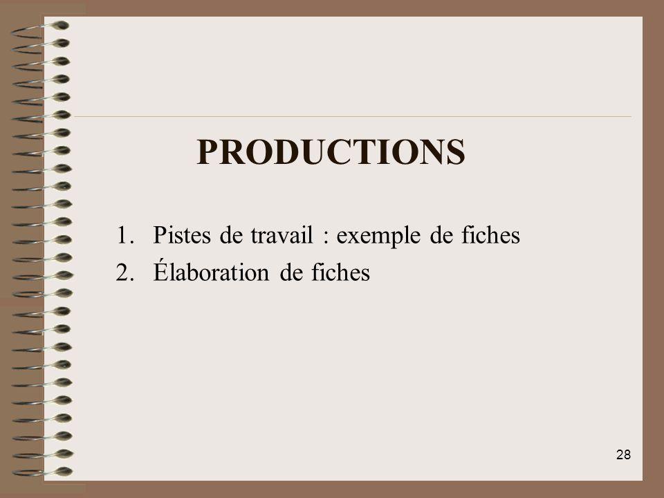 Productions Pistes de travail : exemple de fiches