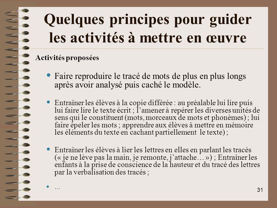 Quelques principes pour guider les activités à mettre en œuvre