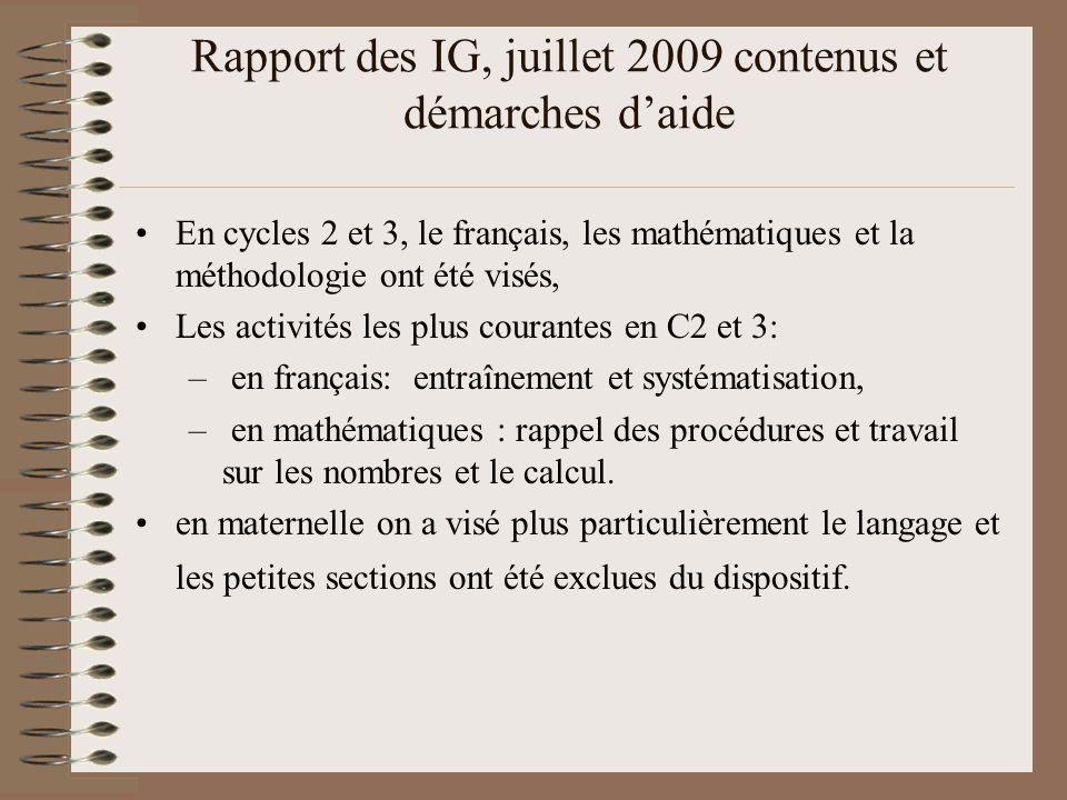 Rapport des IG, juillet 2009 contenus et démarches d'aide