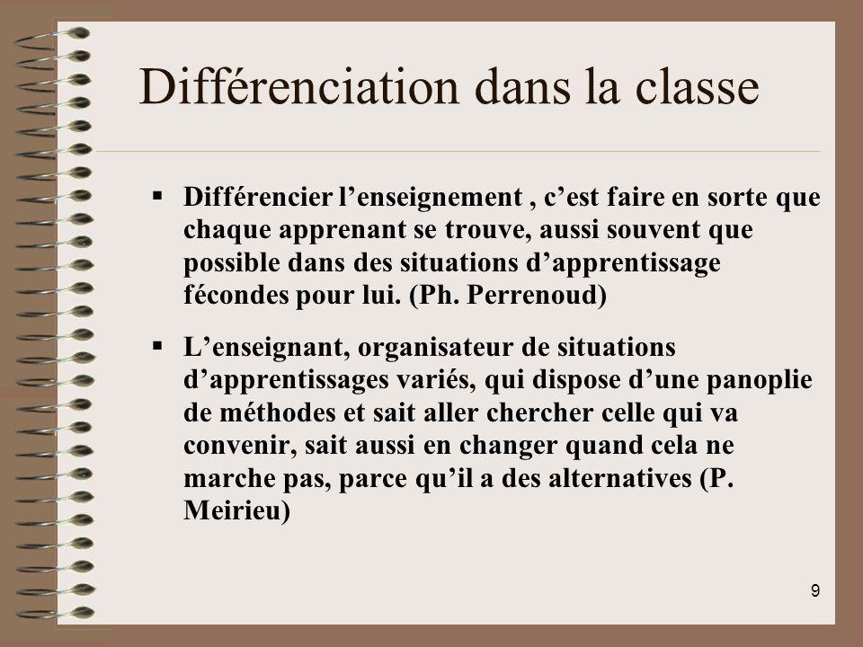 Différenciation dans la classe