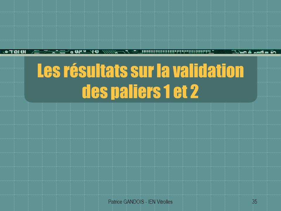Les résultats sur la validation des paliers 1 et 2
