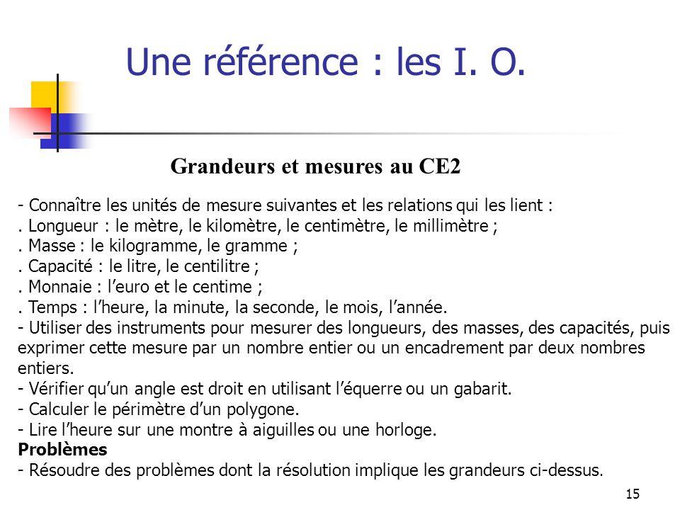 Une référence : les I. O. Grandeurs et mesures au CE2