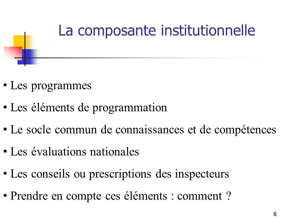 La composante institutionnelle