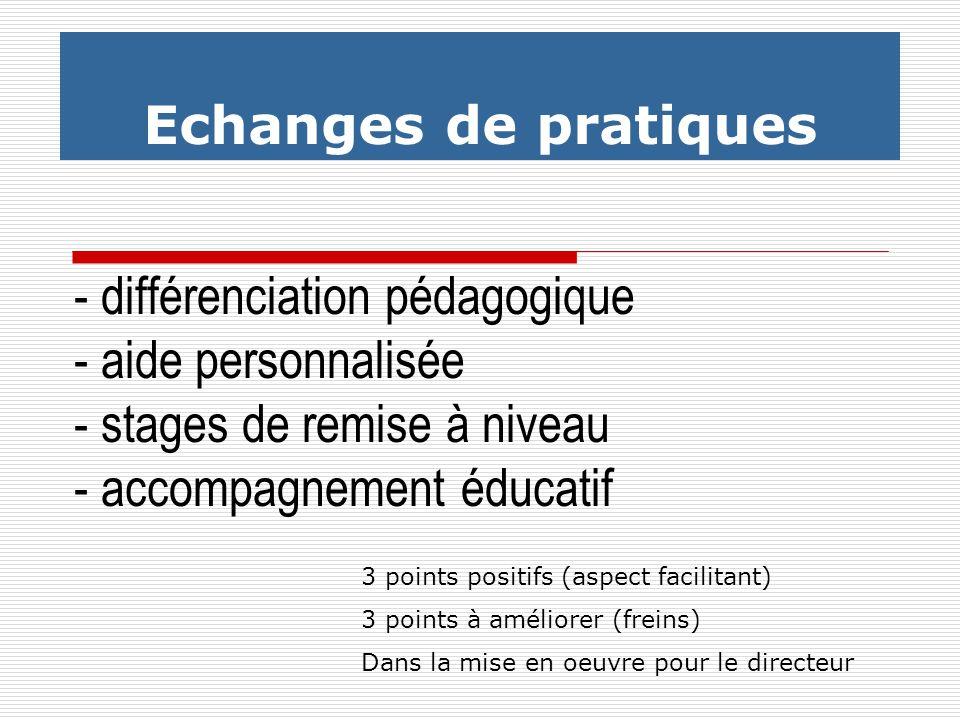 Echanges de pratiques - différenciation pédagogique - aide personnalisée - stages de remise à niveau - accompagnement éducatif.