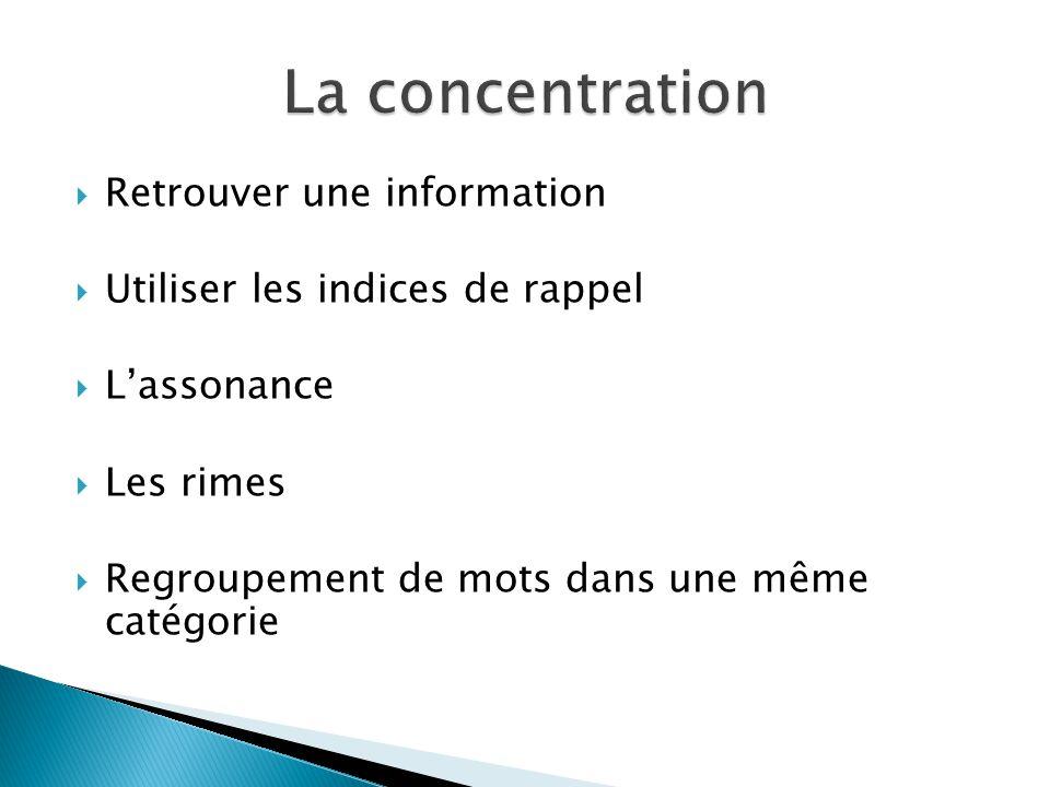 La concentration Retrouver une information