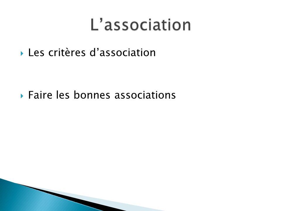 L'association Les critères d'association Faire les bonnes associations