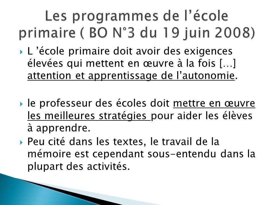 Les programmes de l'école primaire ( BO N°3 du 19 juin 2008)