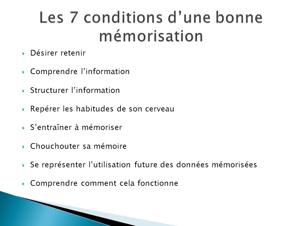 Les 7 conditions d'une bonne mémorisation